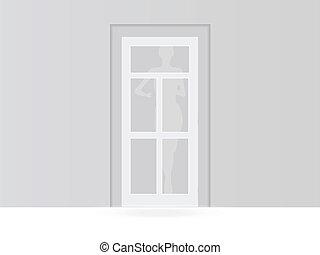 bianco, porta, stanza