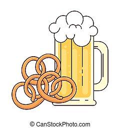 bianco, pretzel, tazza, fondo, birra