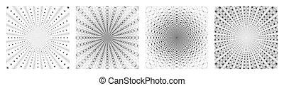bianco, progetto serie, nero, quattro, geometrico, pattern., unità, astratto, astrazione, style., stesso