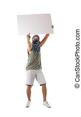bianco, protestor, isolato