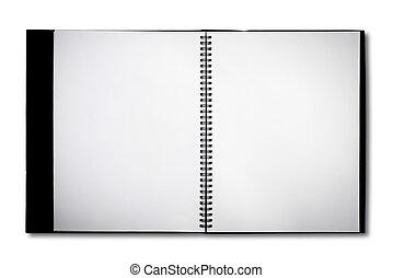 bianco, quaderno, isolato, fondo, vuoto