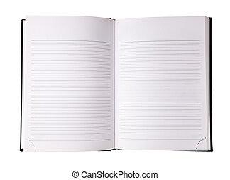 bianco, quaderno, isolato, vuoto