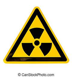 bianco, radioattivo, isolato, segno