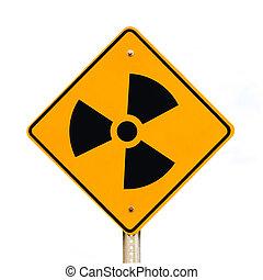 bianco, radioattivo, isolato, segno strada