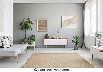 bianco, reale, pavimento, interno, nordico, luminoso, armadietto, piante, foto, finestra, moquette, tendaggio, vivente, grigio, grande, stanza, fresco, stile, divano