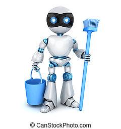 bianco, robot, pulitore