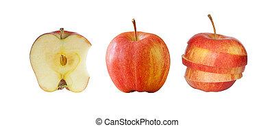 bianco rosso, isolato, collezione, mele