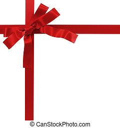 bianco rosso, nastro, regalo, isolato, arco
