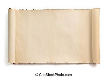 bianco, rotolo, isolato, pergamena
