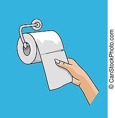 bianco, rotolo, tessuto, tirata, mano, donna, su, carta