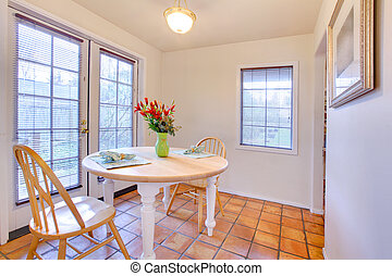 Sala da pranzo, porte francesi. Stanza, suburbano, francese, cenando ...