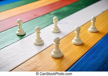 bianco, scacchi, pegno, pezzi