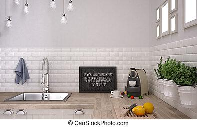 bianco, scandinavo, cucina
