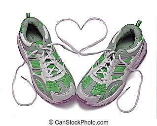 bianco, scarpe tennis, isolato, fondo