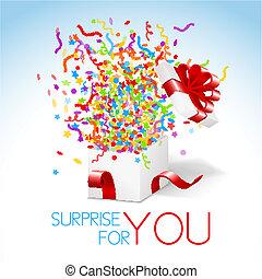 bianco, scatola regalo, con, nastro rosso, e, colorito,...