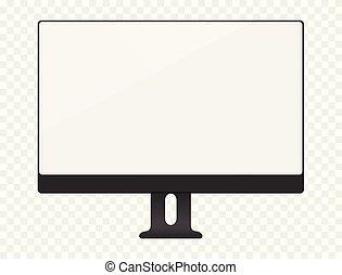 bianco, schermo calcolatore, mockup., vuoto