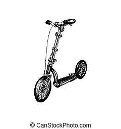 bianco, scooter., fondo., schizzo, spinta, illustrazione, mano, disegnato, vettore, trasporto, foot-driven