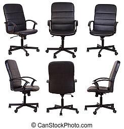 bianco, sedia, isolato, nero, ufficio, fondo