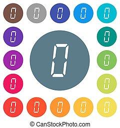 bianco, segmento, sette, appartamento, colorare, numero, sfondi, tipo, rotondo, digitale, icone, zero