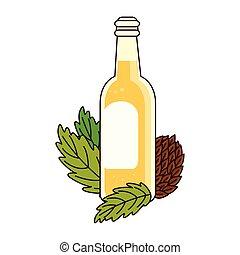 bianco, semi, bottiglia, luppolo, fondo, birra