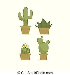 bianco, set, cactus, fondo