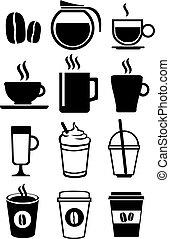 bianco, set, caffè, vettore, icona, bevande, nero