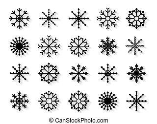 bianco, set, fiocchi neve, fondo, isolato