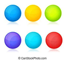 bianco, set, fondo, colorito, palle