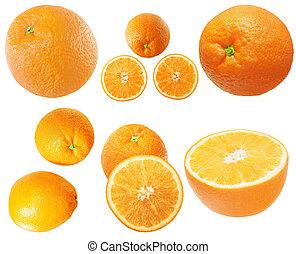 bianco, set, isolato, arance