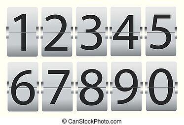 bianco, set, isolato, numeri