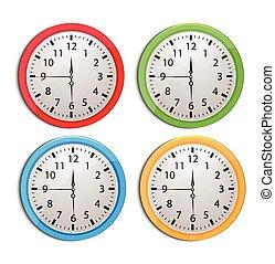 bianco, set, isolato, orologio