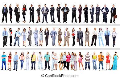 bianco, set, isolato, persone affari