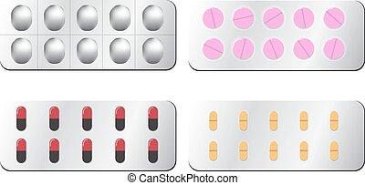 bianco, set, isolato, pillola