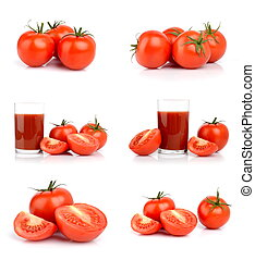 bianco, set, isolato, pomodori