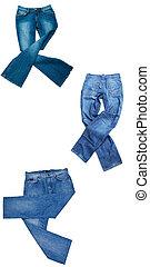 bianco, set, jeans, isolato