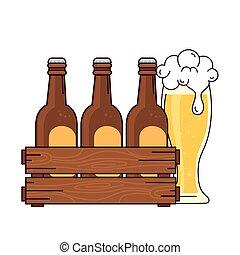 bianco, set, legno, vetro, scatola, fondo, birre, birra