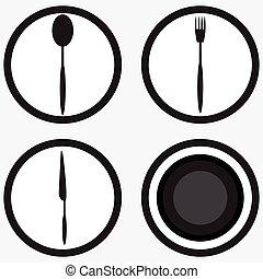 bianco, set, nero, coltelleria, icona