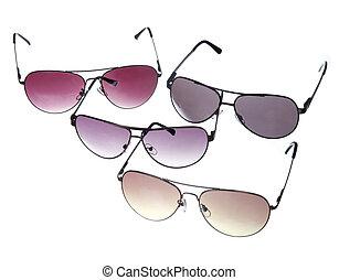 bianco, set, occhiali da sole, isolato