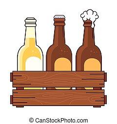 bianco, set, scatola, legno, fondo, birre