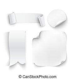 bianco, set, stickers., vuoto