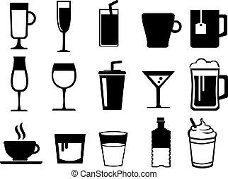 bianco, set, vettore, icona, bevande, nero