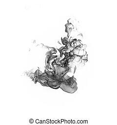 bianco, sfondo nero, fumo