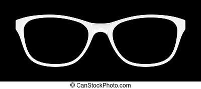 bianco, sfondo nero, occhiali