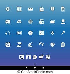bianco, smartphone, apps, icone