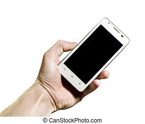 bianco, smartphone, fondo, mano