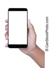 bianco, smartphone, fondo, tenendo mano