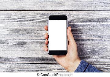 bianco, smartphone, mano