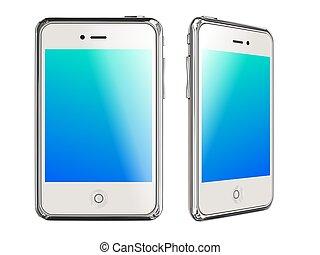 bianco, smartphones, bianco, fondo, 3d, render.