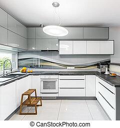 bianco, spazioso, cucina