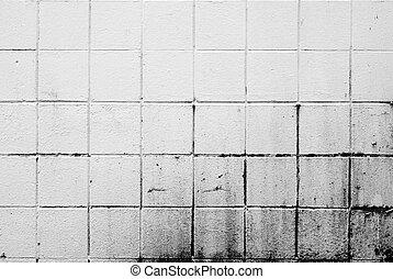 bianco, sporco, muro di mattoni